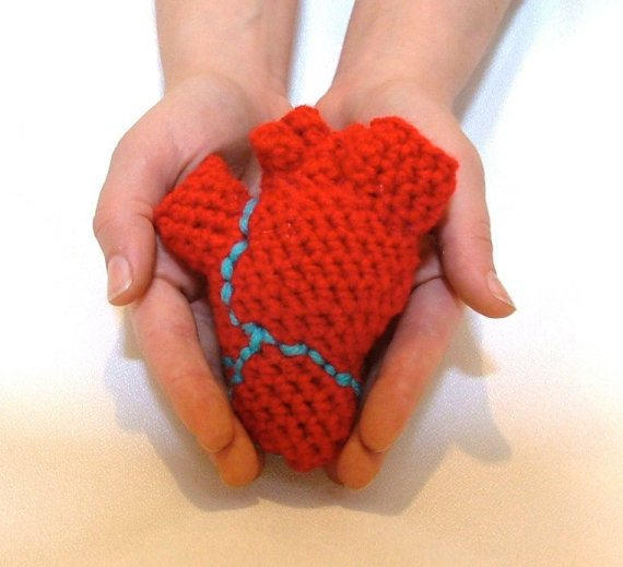 2 in 1 anatomical crochet human heart and brain patterns pdf | Etsy | 519x570