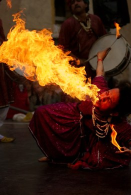 "Fire breathing ""Jaipur Maharaja Brass Band"" Chassepierre Belgium. Photo by Luc Viatour"