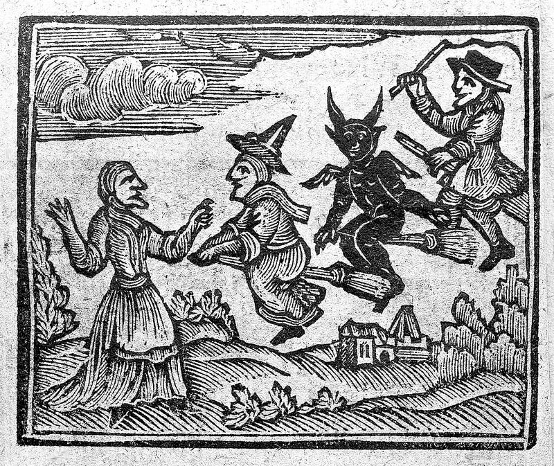 Woodcut of witches from The History of Witches and Wizards, 1720