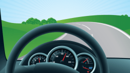 Illustration of cockpit of a car looking out onto a road disappearing on the horizon