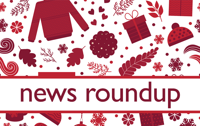 Illustration of winter and holiday icons (sweaters, mittens, presents, cookie). Text: News Roundup