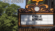 movie marque with text c'ville stong. Also text news roundup