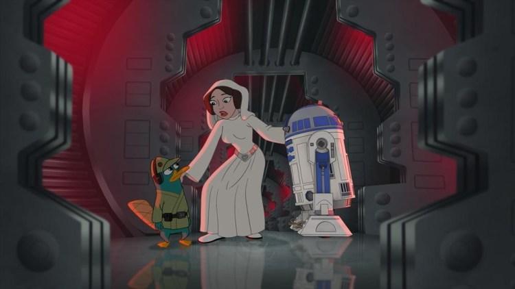 PERRY THE PLATYPUS, PRINCESS LEIA, R2-D2