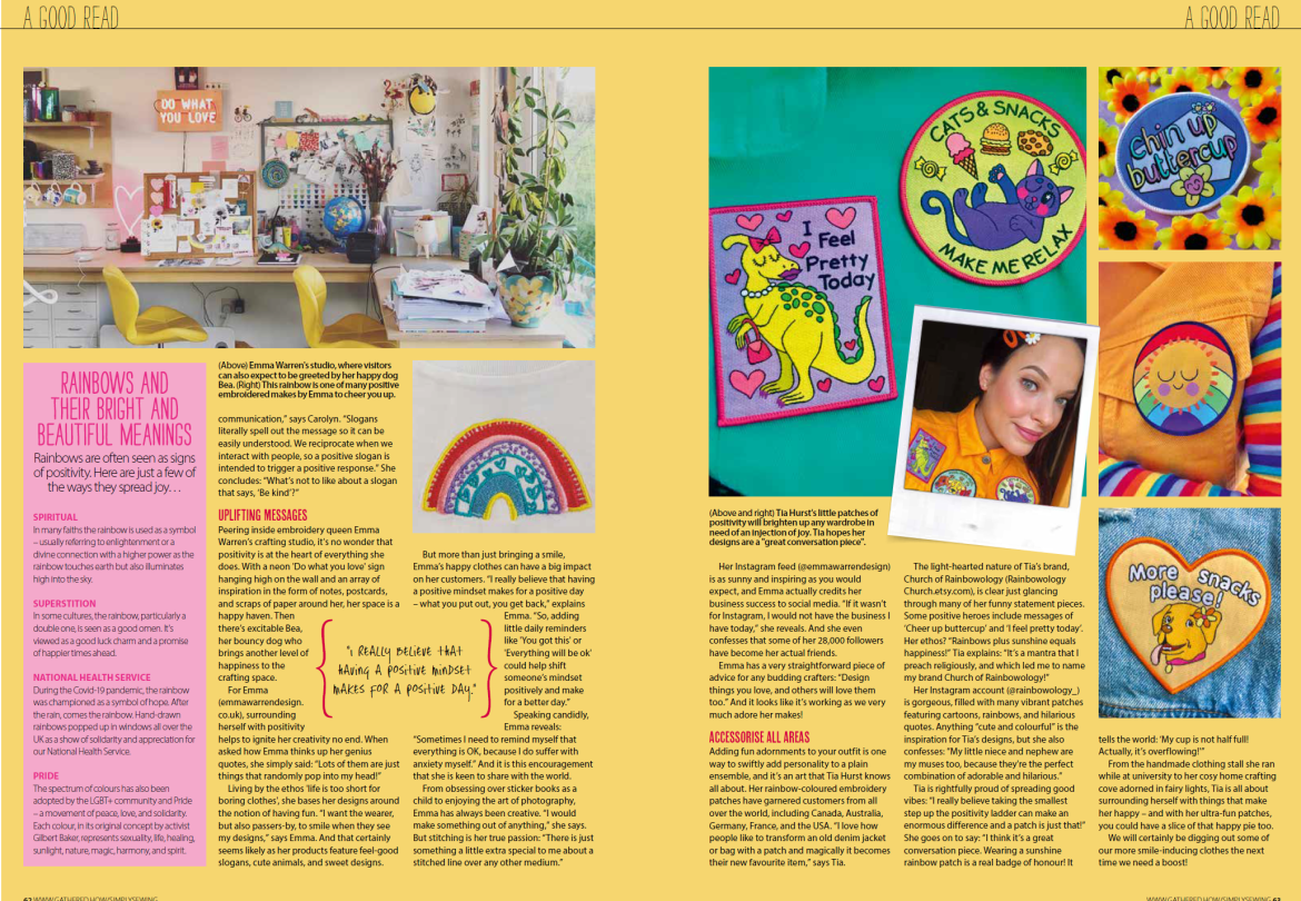 Feel good published in Simply Sewing magazine, Feb 21 issue page 2 of 2