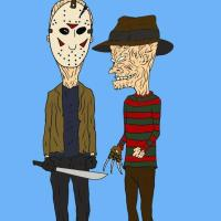 Horror Art - Beavis & Butthead as Jason & Freddy