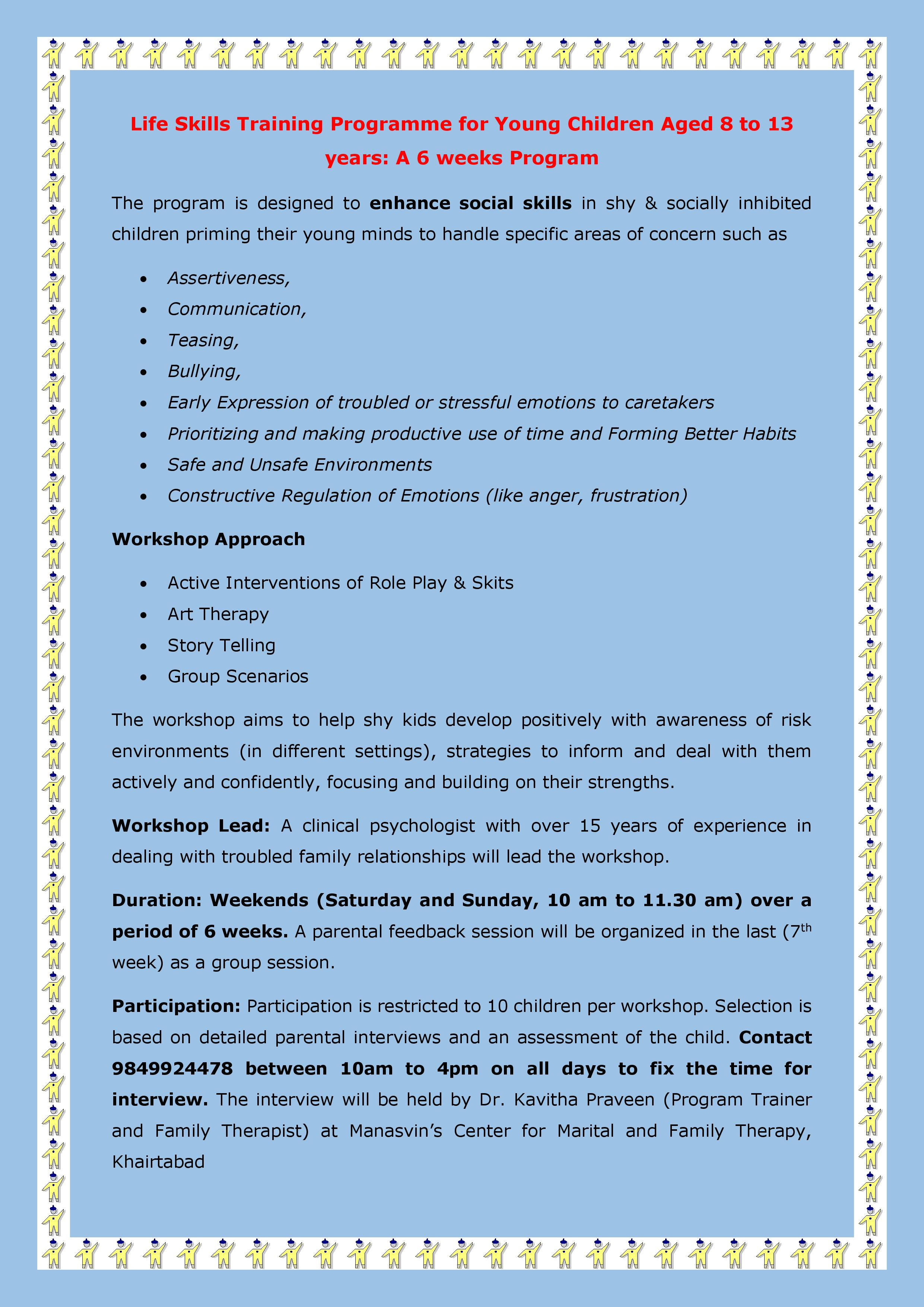 Life Skills Program For Young Children Aged 8 To 13 Years