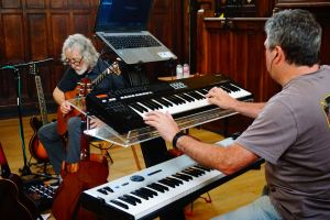 Paul Ward playing keyboards for Gordon Giltrap live at Lichfied Guildhall for a performance of The Last of England