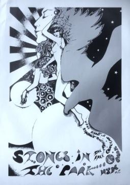 Rolling Stones Stones in the Park poster monochrome 60s hippie festival