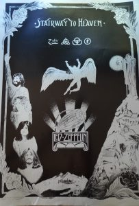 Led Zeppelin Stairway to heaven silver on black