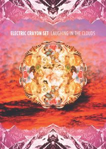 Electric Crayon Set Laughing in the clouds blue vinyl with poster included front cover pack shot with art by Gavin Morrow Psychotron Records PR1009