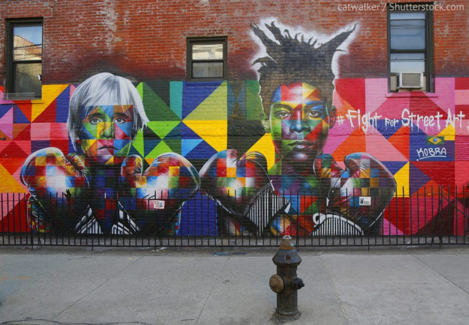 Jean Michel Basquiat and Andy Warhol street art