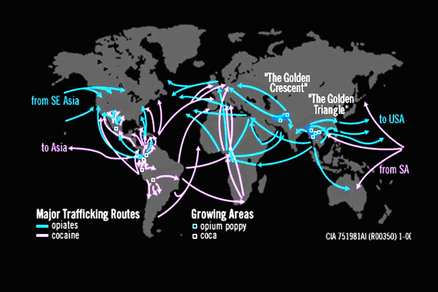 A map of the major cocaine and heroin trafficking routes