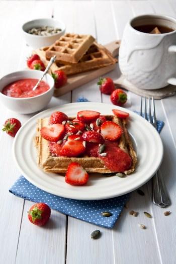 gaufres sucrees et confiture de fraises psyllium