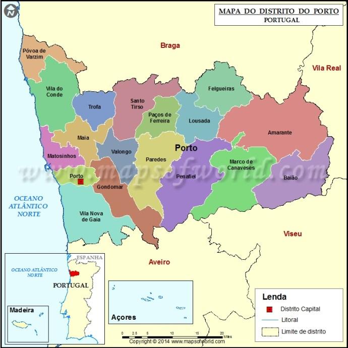mapa de portugal porto