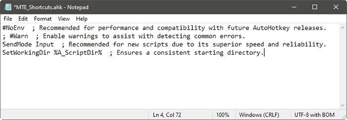 Atalhos específicos de aplicativos com entradas padrão Ahk