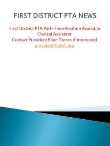 FIRST DISTRICT PTA NEWS