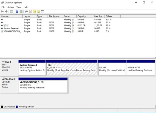 Windows 10 partition map after extending disk size