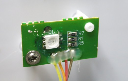 """Original RGB LED. The three resistors indicate this is not a """"smart"""" LED, but instead three basic R-G-B LEDs in a single package."""