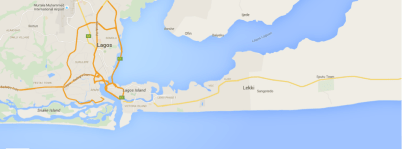 The map of the greater metropolitan Lagos showing the Lagos Lagoon (in the centre) and the Atlantic Ocean. Credit: Google Maps