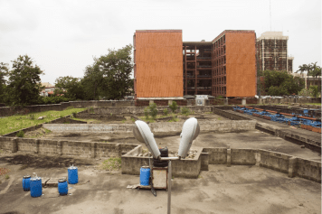 The site of a building project near the Faculty of Arts on the main campus of the University of Lagos was once the habitat of monkeys. Credit: Hamed Adedeji