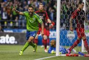 Clint Dempsey cheers his 2nd half goal that would give the Sounders a 1-0 win over rival Portland Timbers.  The Seattle Sounders and Portland Timbers played Sunday, April 26, 2015, at CenturyLink Field in Seattle
