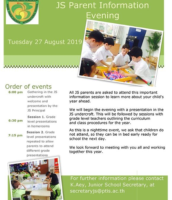 Save the Date – Tuesday 27th August JS Parent Information Evening