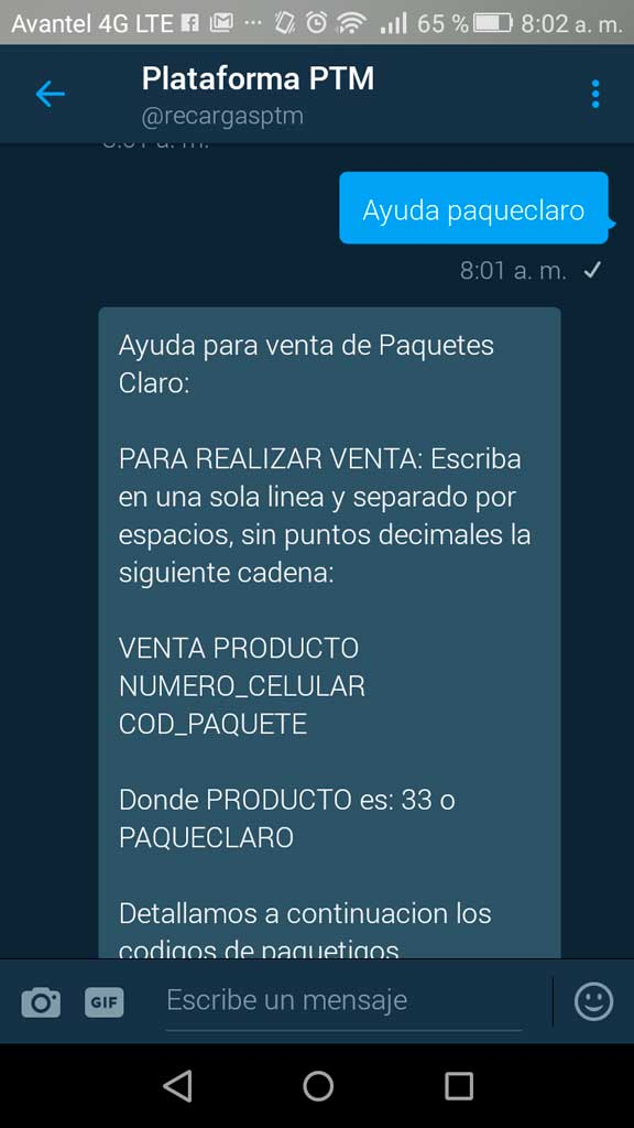 Venta paquetes claro tiwtter PTM