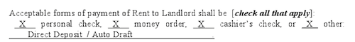 Rent Collection Note in Lease Agreement