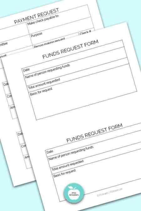 Printable PTO Treasurer forms including full page payment request form and 3 to a page check request form