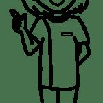 【女性ポーズ:指差しポイント – 白黒線画】リハビリセラピスト(PT・OT・S