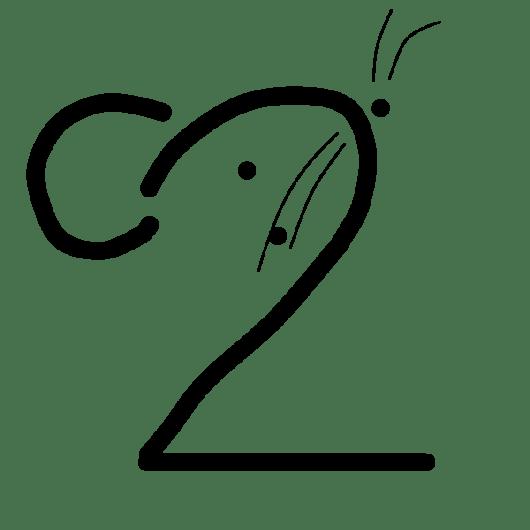 【FireAlpaca用なぞり素材 - 季節イラスト】年賀状イラスト:子年用ネズミイラストD(手書き風文字イラスト) - 透過PNG画像ファイル:リハイラスト(リハビリ専門家のためのイラスト無料素材集)