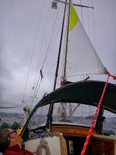 Sockdolager hove-to under storm trysail, 100 miles off the Oregon coast at the beginning of the gale.