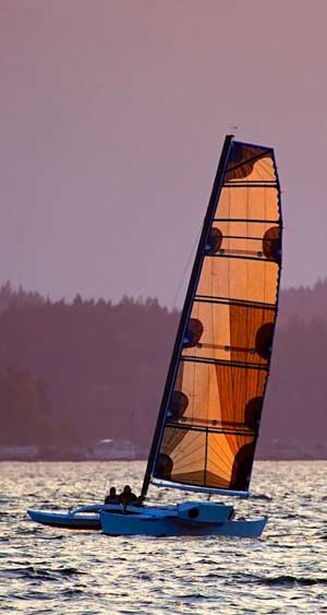 Team Wet and Wild seatrials their new Brown Bieker proa off Shilshole. Photo by Peter Howland photography.