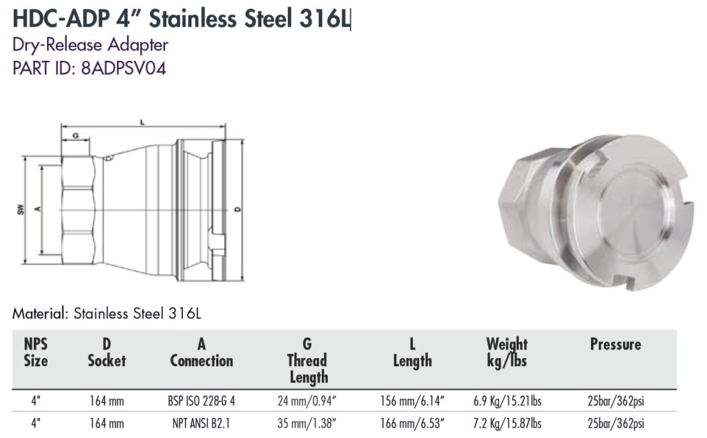 """HDC-ADP 4"""" Stainless Steel 316L"""