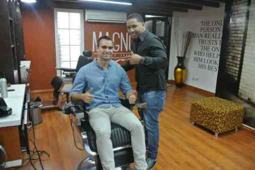 Photo with Cesar, one of the barbers at Magno