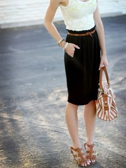 nude shoes & pencil skirt