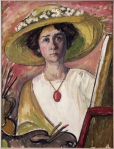 "Gabriele Münter, ""Self-Portrait in front of an easel"", ca. 1908-09, oil on canvas, Princeton University Art Museum."