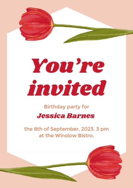 online red roses birthday invitation