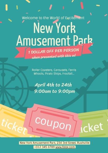 online amusement park ads poster