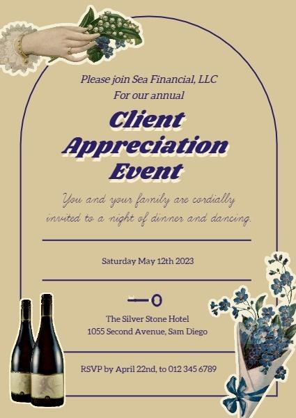 Online Vintage Client Appreciation Party Invitation Template