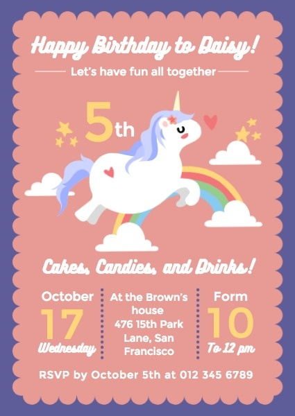 online girl s birthday party invitation