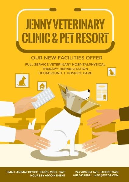 online pet clinic poster template