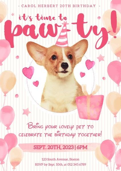online pink dog birthday party