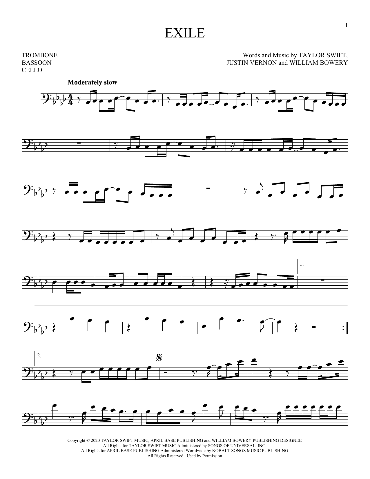 Exile Feat Bon Iver Sheet Music By Taylor Swift For