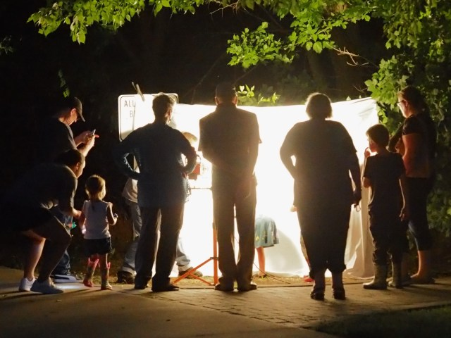 evening photograph of people in front a white sheet screen observing moths