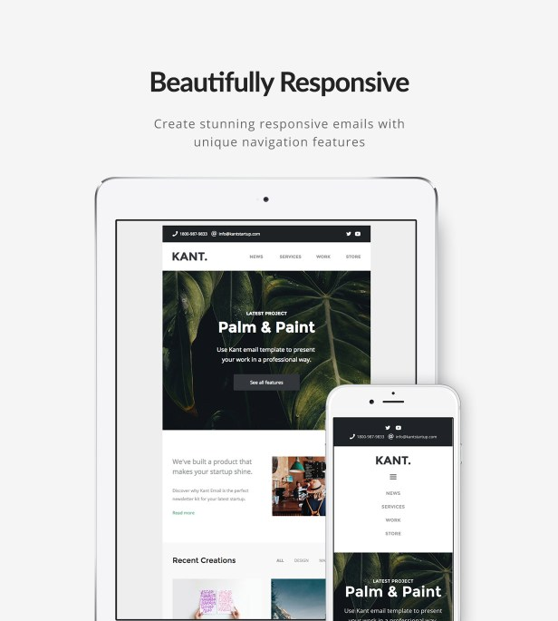 Kant - Responsive Email for Startups: 50+ Sections + MailChimp + Mailster + Shopify Notifications - 2