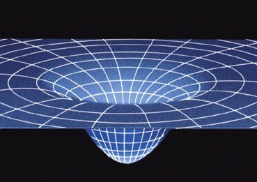 Artist's impression of spacetime curved by a massive body
