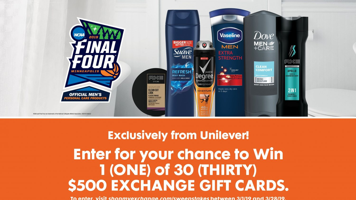 Exchange Shoppers Can Score $15,000 in Gift Cards in Unilever March Madness Sweepstakes