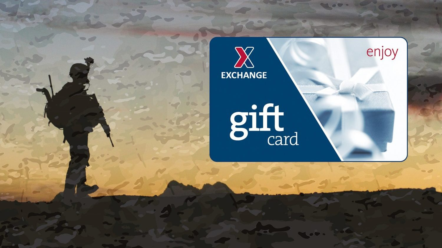 A Soldier stands on a hill with an orange sunset; an Exchange gift card sits on the right side