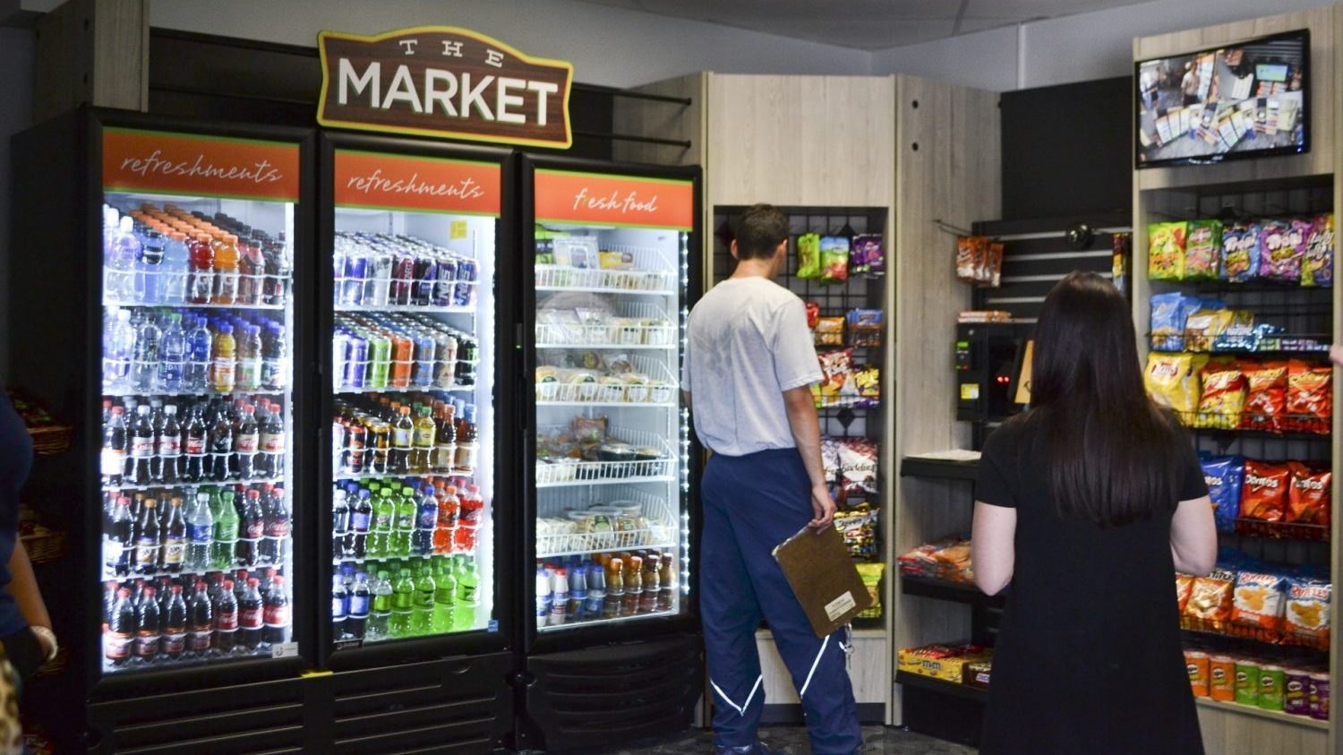 customers shopping at Tinker AFB micro market